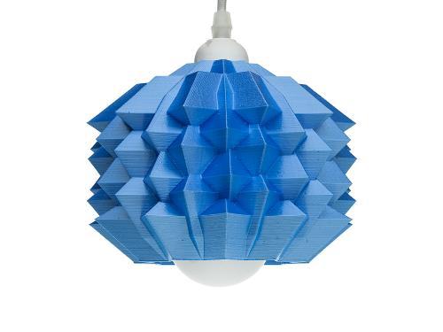 3D-gedruckte Lampen Neo Origami Light Blau Silk