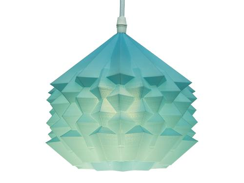 3D-gedruckte Lampen Neo Origami Light Hellblau