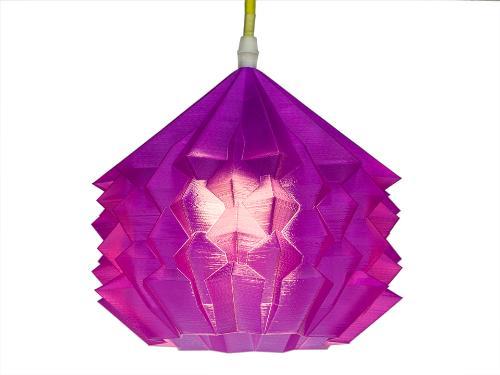 3D-gedruckte Lampen Neo Origami Light Violett Transparent