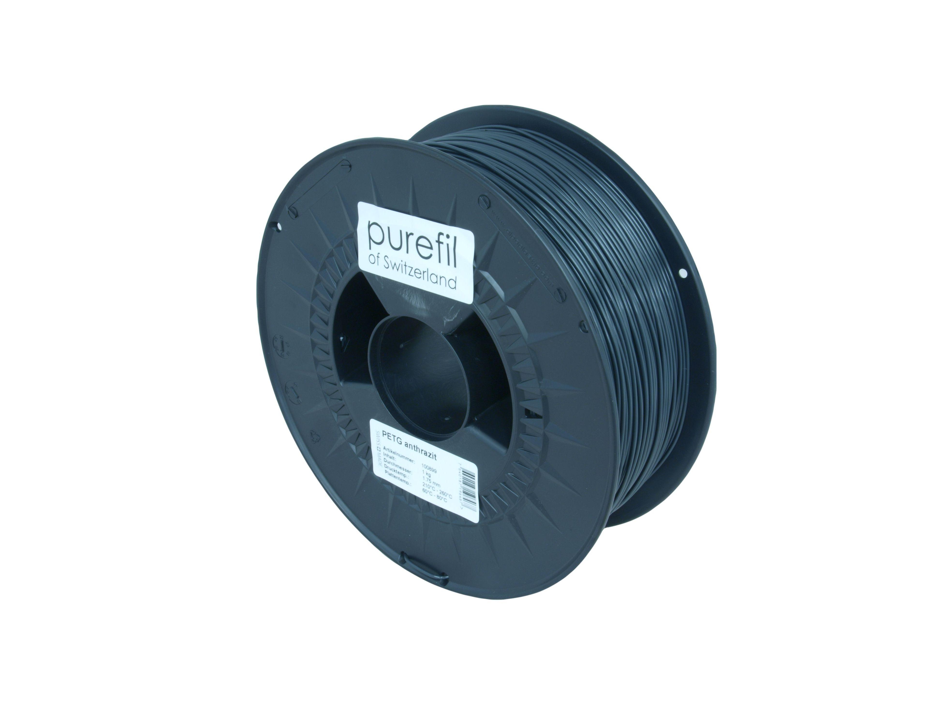 PETG Filament Purefil PETG Anthrazit 1Kg 1.75mm