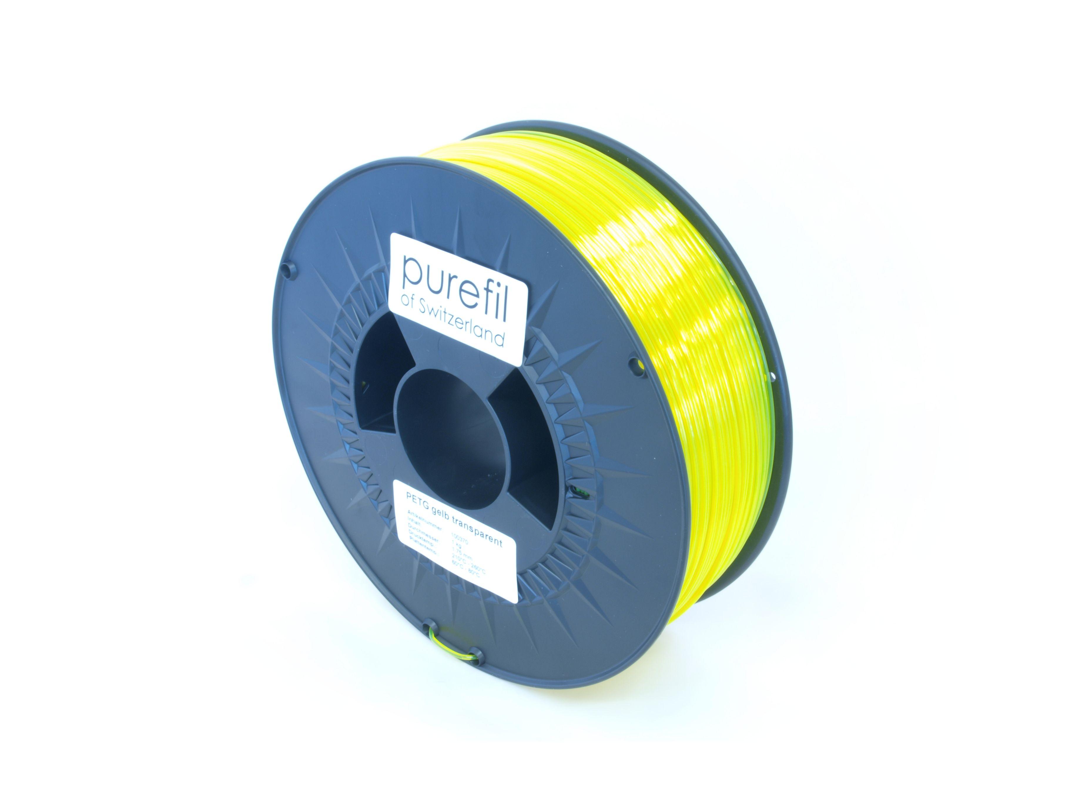 PETG Filament Purefil PETG Gelb Transparent 1Kg 1.75mm